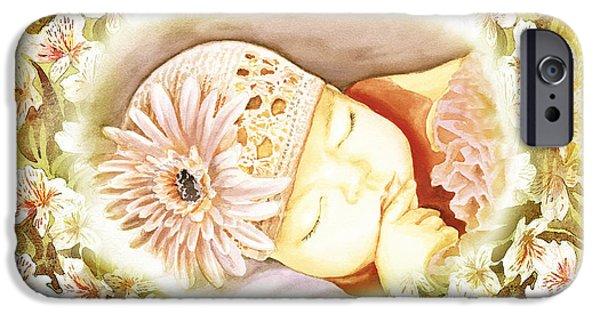 IPhone 6 Case featuring the painting Sleeping Baby Vintage Dreams by Irina Sztukowski
