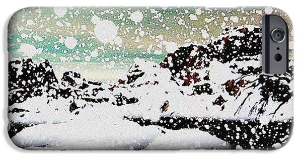Christmas Digital Art iPhone Cases - Snowfall iPhone Case by Anastasiya Malakhova