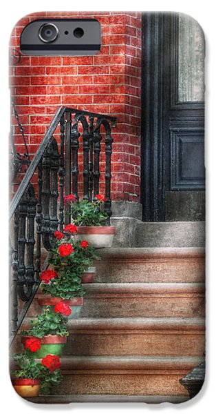 Antique Ironwork iPhone Cases - Spring - Porch - Hoboken NJ - Geraniums on stairs iPhone Case by Mike Savad