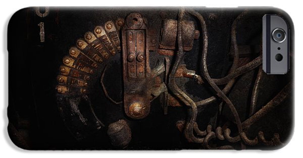 Mechanism iPhone Cases - Steampunk - Electrical - Rotary Switch iPhone Case by Mike Savad