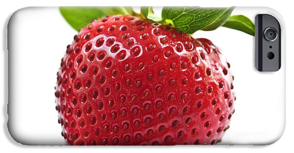 Berry iPhone Cases - Strawberry on white background iPhone Case by Elena Elisseeva