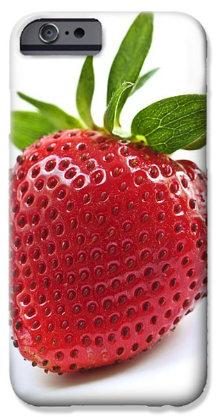 Strawberry on white background iPhone Case by Elena Elisseeva