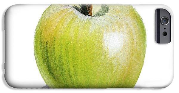 IPhone 6 Case featuring the painting Sun Kissed Green Apple by Irina Sztukowski