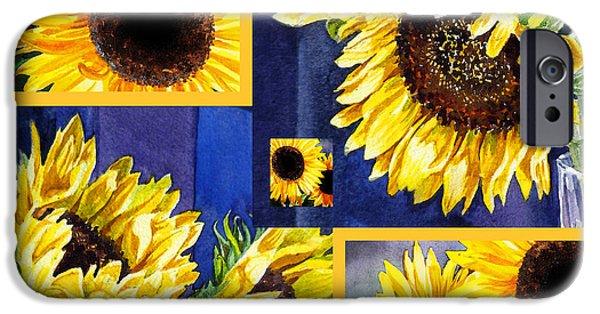 IPhone 6 Case featuring the painting Sunflowers Sunny Collage by Irina Sztukowski