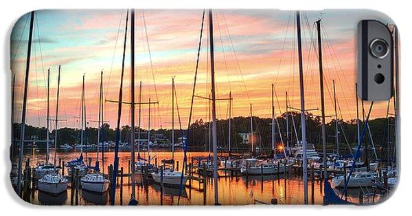 Oak Creek iPhone Cases - Sunset - Oak Pt Marina iPhone Case by Brian Wallace