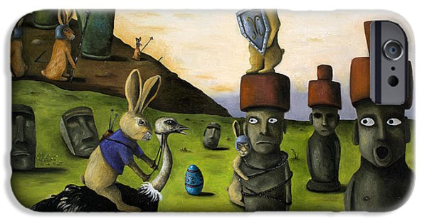 Emu iPhone Cases - The Battle Over Easter Island iPhone Case by Leah Saulnier The Painting Maniac