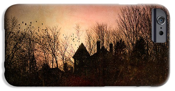 Haunted iPhone Cases - The Mansion Is Warm At The Top Of the Hill iPhone Case by Bob Orsillo