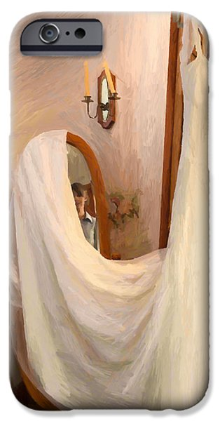 Old Town Temecula iPhone Cases - The Wedding Gown is Ready iPhone Case by Angela A Stanton