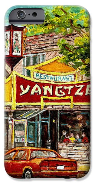 Montreal Restaurants iPhone Cases - The Yangtze Restaurant On Van Horne Avenue Montreal  iPhone Case by Carole Spandau
