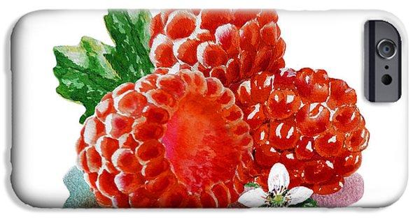 IPhone 6 Case featuring the painting Three Happy Raspberries by Irina Sztukowski