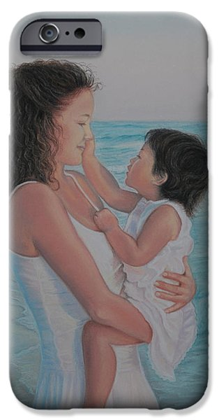 Ocean Sunset Pastels iPhone Cases - Touched by an Angel iPhone Case by Holly Kallie
