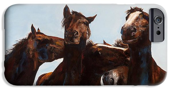 Art Of Horses iPhone Cases - Trouble Makers iPhone Case by Frances Marino