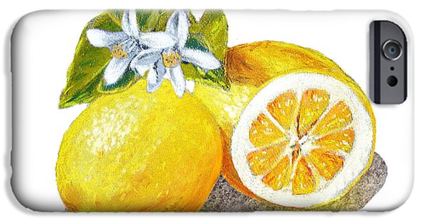 IPhone 6 Case featuring the painting Two Happy Lemons by Irina Sztukowski