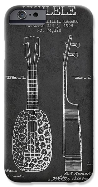 Folk Art iPhone 6 Case - Ukulele Patent Drawing From 1928 - Dark by Aged Pixel