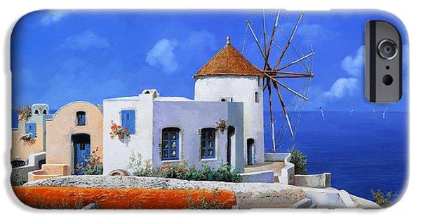 Greek iPhone Cases - un mulino in Grecia iPhone Case by Guido Borelli