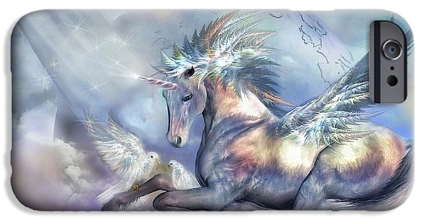Unicorn Art iPhone Cases - Unicorn Of Peace iPhone Case by Carol Cavalaris
