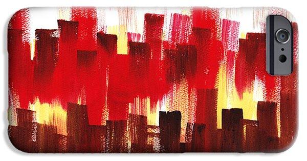 IPhone 6 Case featuring the painting Urban Abstract Evening Lights by Irina Sztukowski