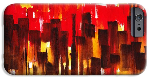 IPhone 6 Case featuring the painting Urban Abstract Glowing City by Irina Sztukowski