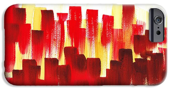 IPhone 6 Case featuring the painting Urban Abstract Red City Lights by Irina Sztukowski