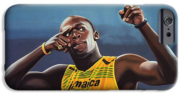 Blue iPhone 6 Case - Usain Bolt Painting by Paul Meijering