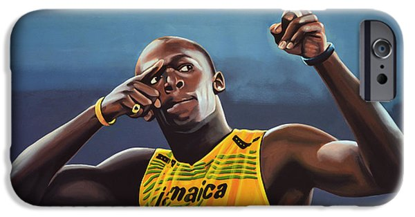 Star iPhone 6 Case - Usain Bolt Painting by Paul Meijering