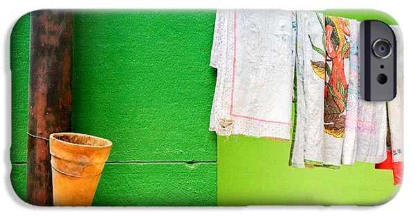 IPhone 6 Case featuring the photograph Vase Towels And Green Wall by Silvia Ganora