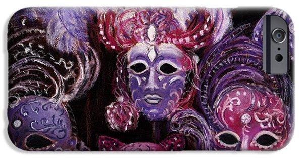 Purple Pastels iPhone Cases - Venetian Masks iPhone Case by Anastasiya Malakhova