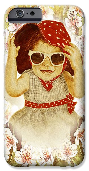 IPhone 6 Case featuring the painting Vintage Fashion Girl by Irina Sztukowski
