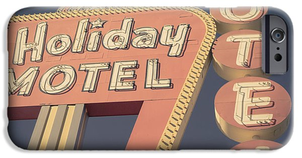 Retro iPhone 6 Case - Vintage Motel Sign Holiday Motel Square by Edward Fielding