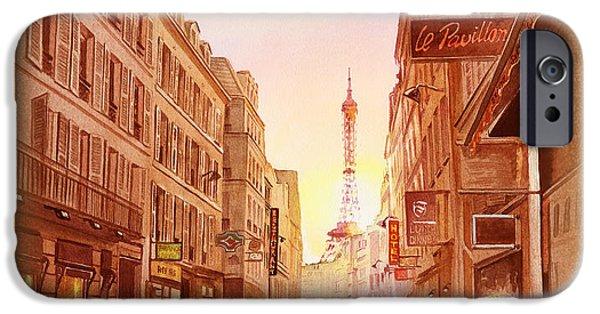 IPhone 6 Case featuring the painting Vintage Paris Street Eiffel Tower View by Irina Sztukowski