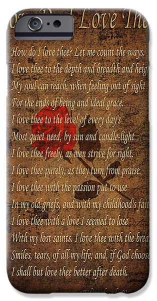 Red Rose iPhone 6 Case - Vintage Poem 4 by Andrew Fare