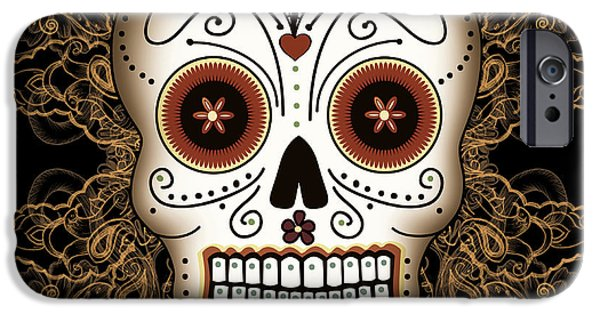 Filigree iPhone Cases - Vintage Sugar Skull iPhone Case by Tammy Wetzel