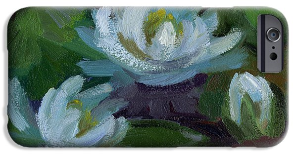 Waterlily iPhone Cases - Waterlilies at Martha Lake 2 iPhone Case by Diane McClary