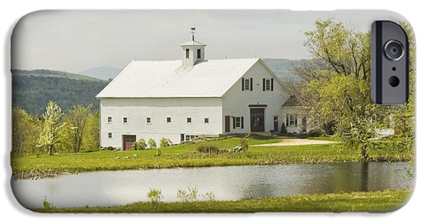 Maine Barns iPhone Cases - White Barn On Farm In Maine Fine Art Prints iPhone Case by Keith Webber Jr