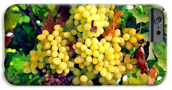 Grapevine Red Leaf iPhone Cases - Wine Grapes on the Vine iPhone Case by Lanjee Chee