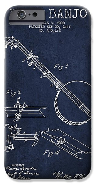 Folk Art iPhone 6 Case - Wood Banjo Patent Drawing From 1887 - Navy Blue by Aged Pixel