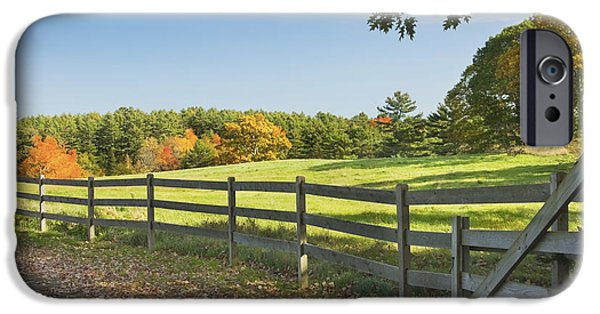 Rural Maine Roads iPhone Cases - Wooden Fence In Autumn Maine Farm Pasture iPhone Case by Keith Webber Jr