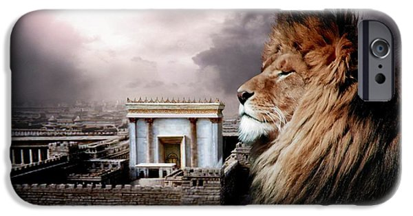 Lions Mixed Media iPhone Cases - Yeshua in the Outer Court iPhone Case by Bill Stephens