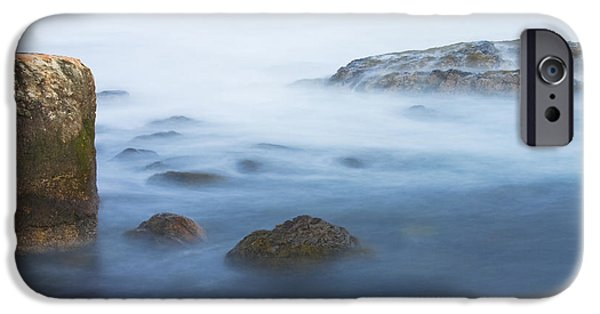 Maine iPhone Cases - Long Exsposure Of Rocks And Waves At Sunset Maine iPhone Case by Keith Webber Jr