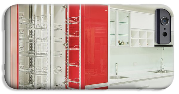 Storage Furniture iPhone Cases - Cupboard With Stainless Steel Metal iPhone Case by Lawren Lu