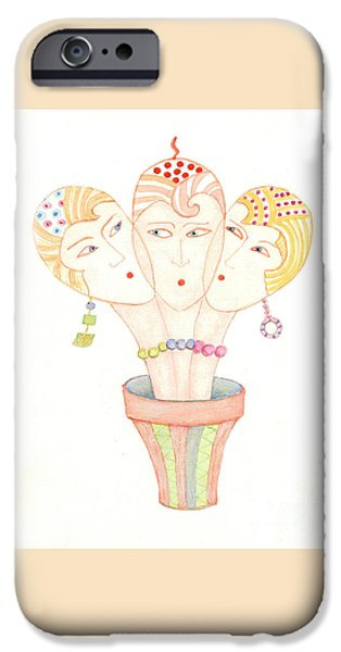 IPhone 6 Case featuring the painting Flower Pot Ladies by Nareeta Martin