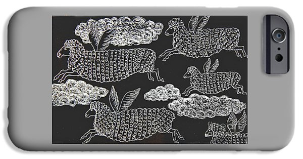 IPhone 6 Case featuring the drawing And Sheep Can Fly by Nareeta Martin