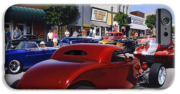 Road Travel iPhone Cases - Cruising Main Street iPhone Case by Bruce Kaiser