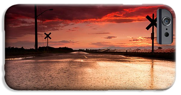 Drama iPhone Cases - Railroad Sunset iPhone Case by Cale Best