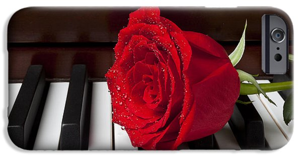 Red Rose iPhone 6 Case - Red Rose On Piano by Garry Gay