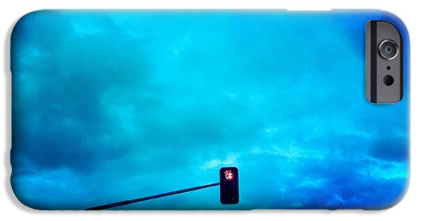 Light iPhone 6 Case - Red Traffic Light And Cloudy Blue Sky by Matthias Hauser