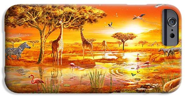 Elephants iPhone Cases - Savanna Sundown iPhone Case by Adrian Chesterman