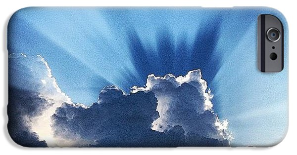 #sunset #clouds #weather #rays #light IPhone 6 Case by Amber Flowers