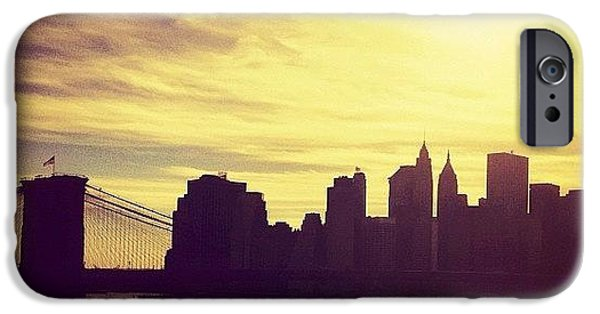 City iPhone 6 Case - Sunset Over The New York City Skyline And The Brooklyn Bridge by Vivienne Gucwa
