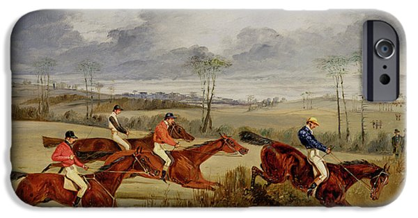 The Horse iPhone Cases -  A Steeplechase - Near the Finish iPhone Case by Henry Thomas Alken